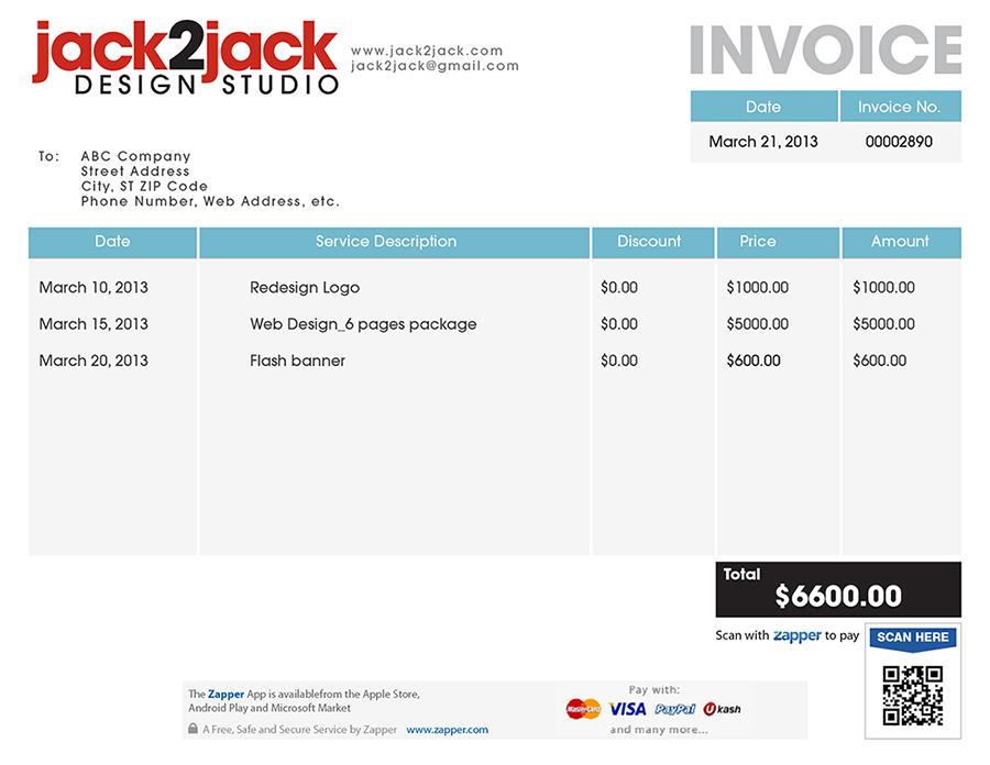 Zapper Bills Sample Invoices - Invoice 6