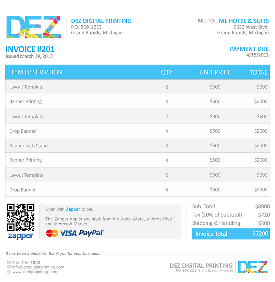 Zapper Bills – Sample Invoice