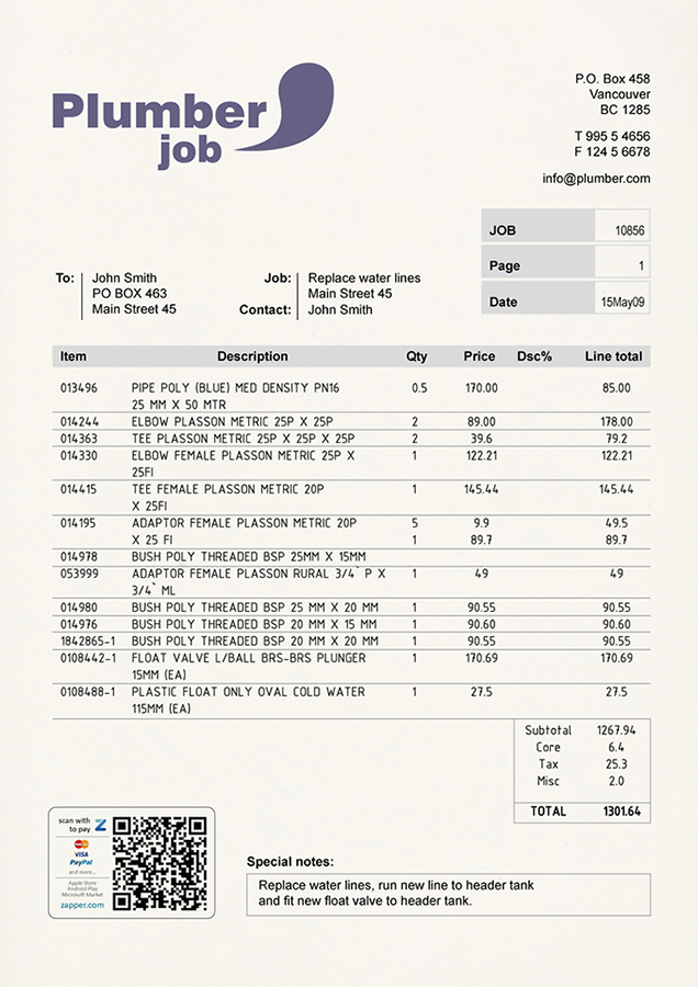 Zapper  Bills  Sample Invoices