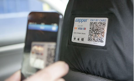 Easy to scan Zapper QR Code in your taxi